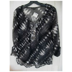 NEW Express Sheer Roll Tab Tunic Blouse Large